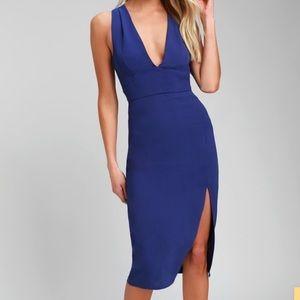 LULUS IDINA ROYAL BLUE BACKLESS BODYCON DRESS NWOT